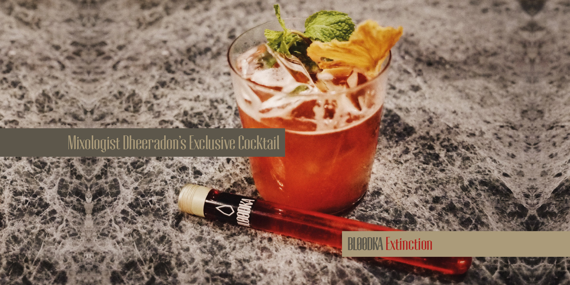 BLOODKA, FORGET ABOUT VODKA - THE ONLY 52,8° DEEP RED SPIRIT MADE IN FRANCE - PACKSHOT - Cocktail by Dheeradon - Bloodka Extinction - Photo : Roc Chaliand